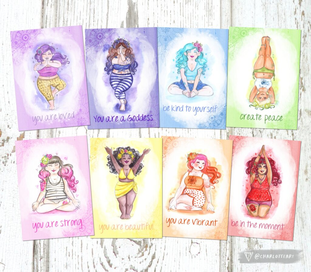 A photo of Charlotte Thomson-Morleys 8 Rainbow Yoga Postcards showing body positive images of women doing yoga.