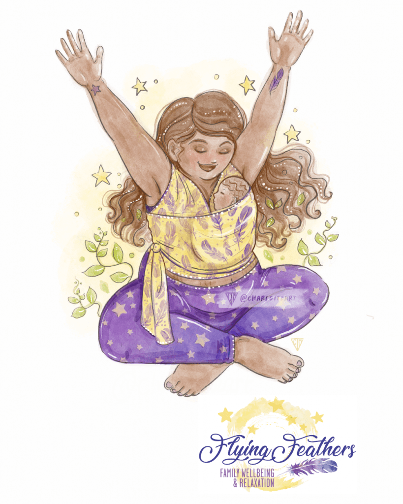 Custom commissions watercolour yoga mother baby wearing
