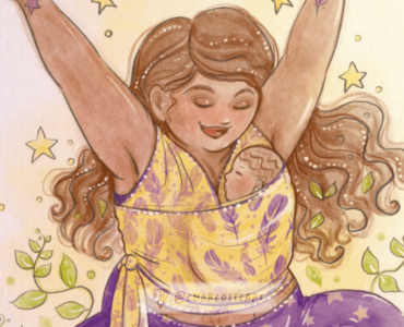 watercolour custom art featuring a baby wearing mother, part of a custom commission by yoga teacher Kirsty of Flying Feathers to use in yoga workshops.